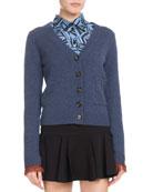 V-Neck Button-Front Cashmere Cardigan w/ Fringe Hem