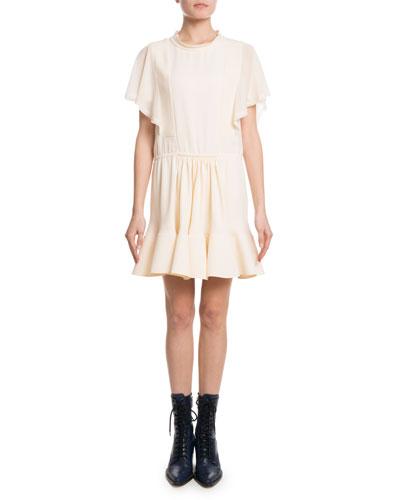Quick Look. Chloe · Flutter-Sleeve Drawstring-Waist Light-Cady Short Dress
