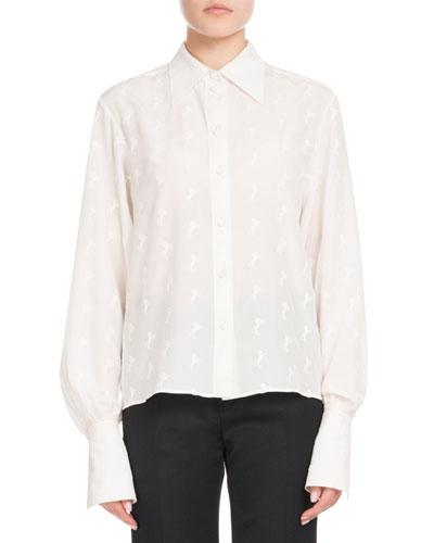 Long-Sleeve Button-Front Tonal Horse-Print Silk Crepe de Chine Blouse