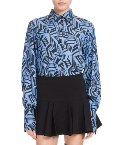 Long-Sleeve Button-Front Geometric-Print Silk Crepe de Chine Blouse