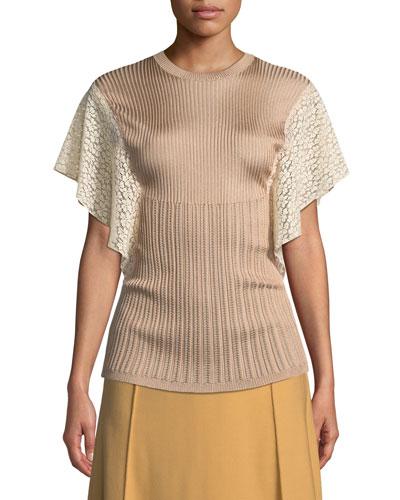 Crewneck Short Lace Flutter-Sleeve Knit Top
