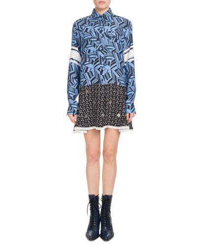 Long-Sleeve Button-Front Geometric-Print Silk Dress w/ Mirror Grommets