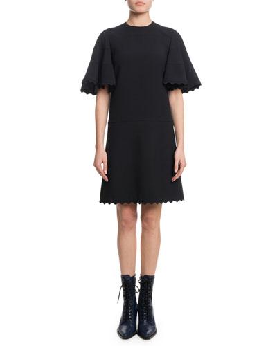 Short-Sleeve Scallop Detail A-Line Light-Cady Short Dress
