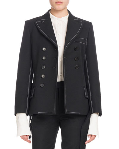 Double-Breasted Self-Belt Wool-Blend Jacket