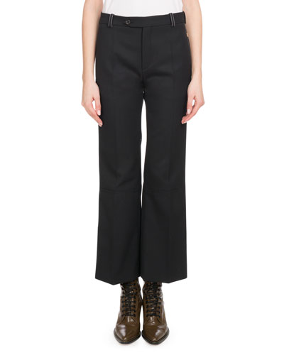 Ankle-Length Flare Wool Pants