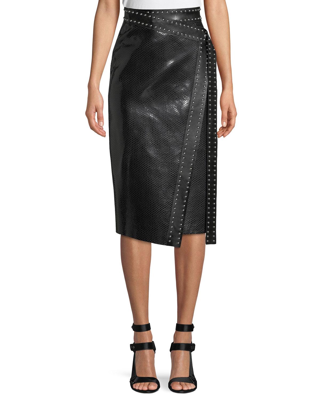 Python-Embossed Lamb-Leather Midi Wrap Skirt w/ Studs