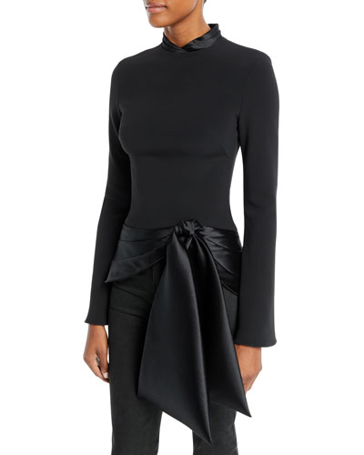 Long-Sleeve Stretch-Crepe Top with Satin Tie Bottom