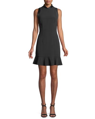 High-Neck Sleeveless A-Line Crepe Dress w/ Satin Trim