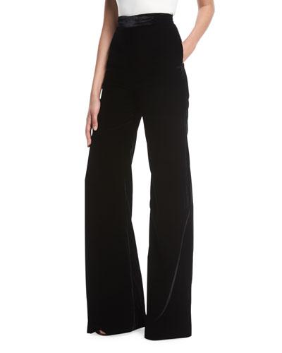 448521b5303c Quick Look. Brandon Maxwell · High-Waist Wide-Leg Velvet Pants