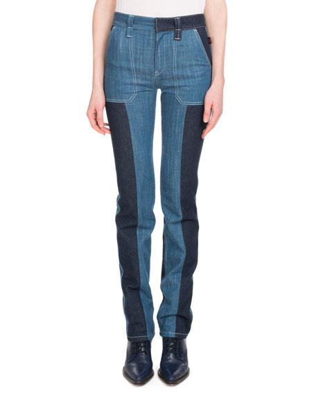 Chloe Zip-Front Patch-Pocket Straight-Leg Bicolor Jeans
