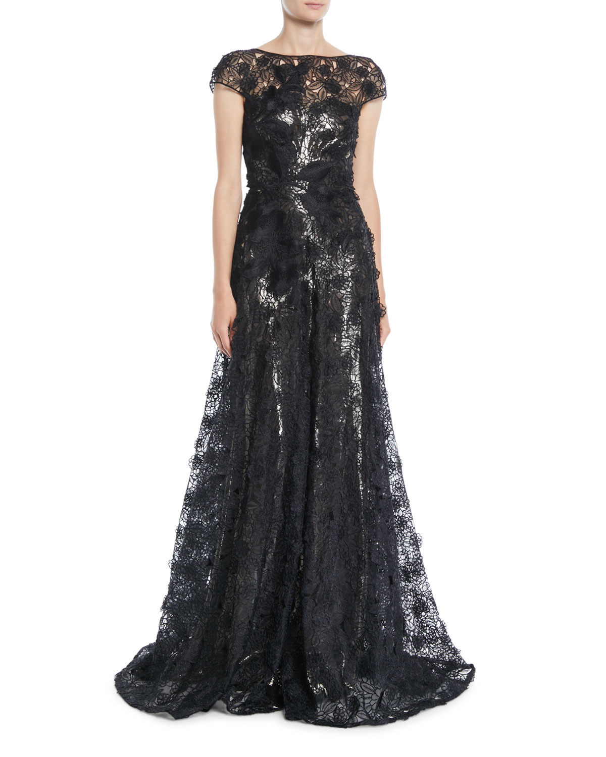 NAEEM KHAN Cap-Sleeve Fitted-Bodice A-Line Lace Evening Gown W/ Metallic Lining in Black Pattern