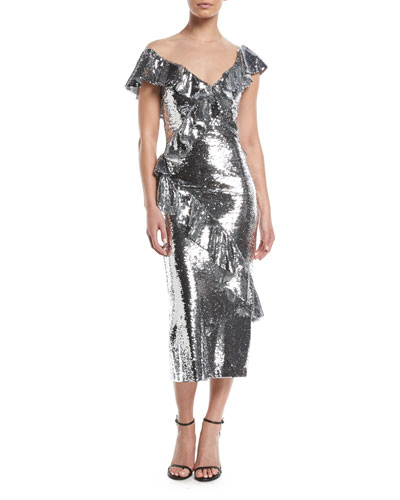 Illusion-Neck Slim Tea-Length Cocktail Dress w/Asymmetric Ruffle Detail