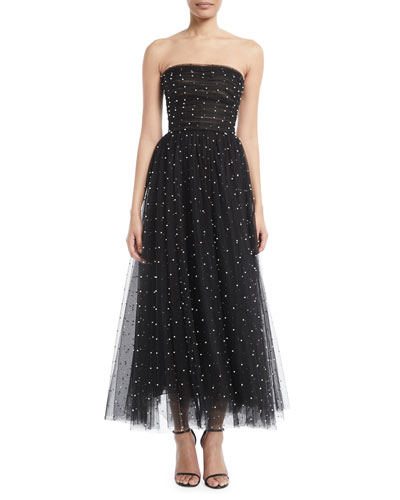 Strapless Pearl-Embellished Tulle Tea-Length Cocktail Dress