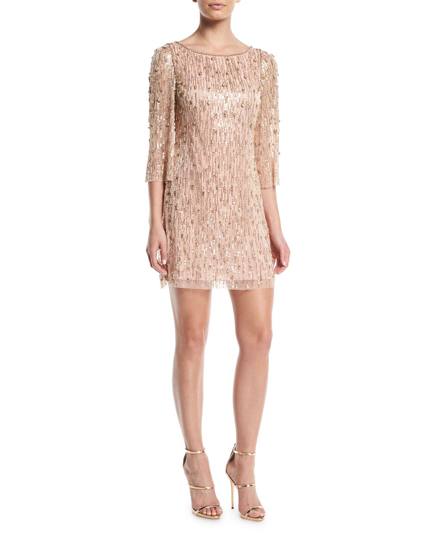 Elbow-Sleeve Straight Beaded Mini Cocktail Dress