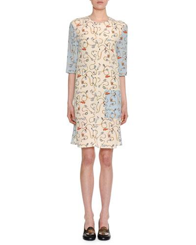 Ribbon & Charms Small Half-Sleeve Crewneck Silk Woven Shift Dress