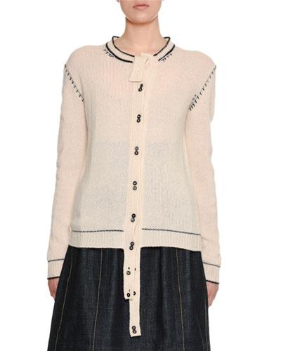 Button-Front Cashmere Cardigan w/ Varsity-Stitch Detail
