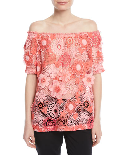 Off-the-Shoulder Floral Lace-Guipure Top
