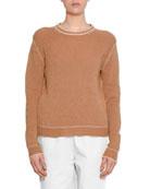 Crewneck Long-Sleeve Cashmere Knit Sweater w/ Stitch Detail