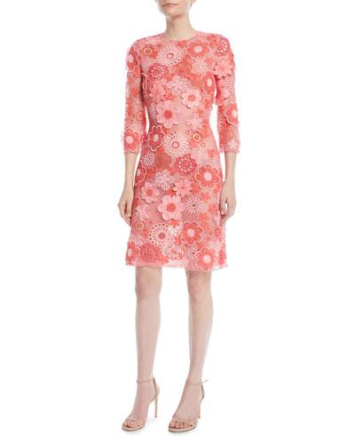 3/4-Sleeve Floral Lace-Guipure Sheath Dress