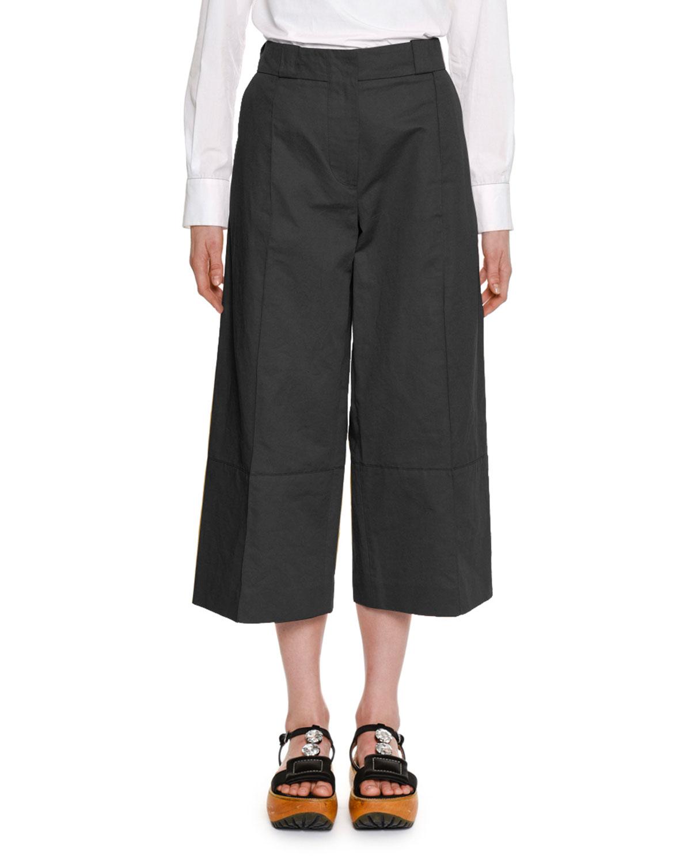 Wide-Leg Cropped Cotton-Linen Pant