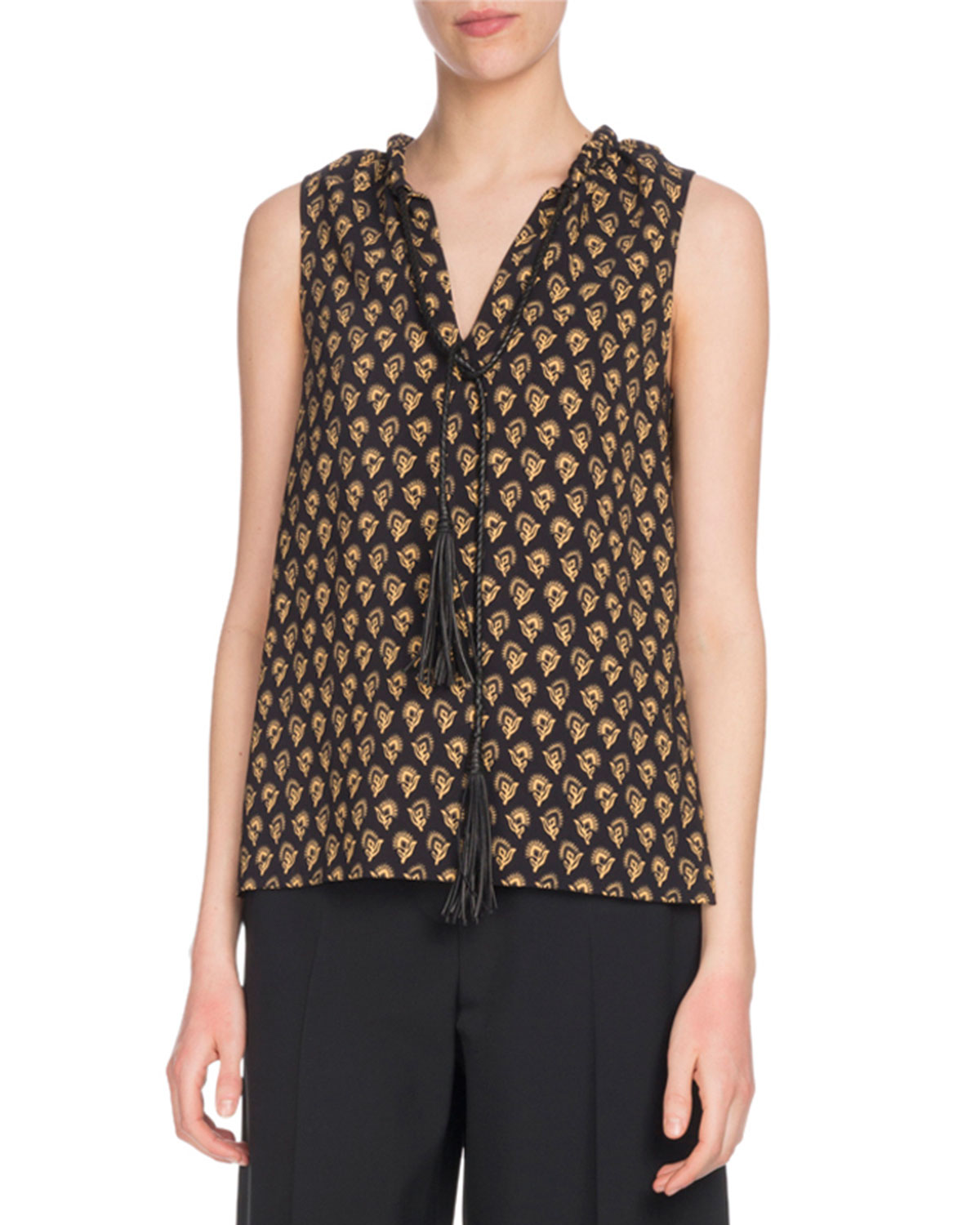 PROENZA SCHOULER SLEEVELESS FAN-PRINT TUNIC WITH LEATHER TIES