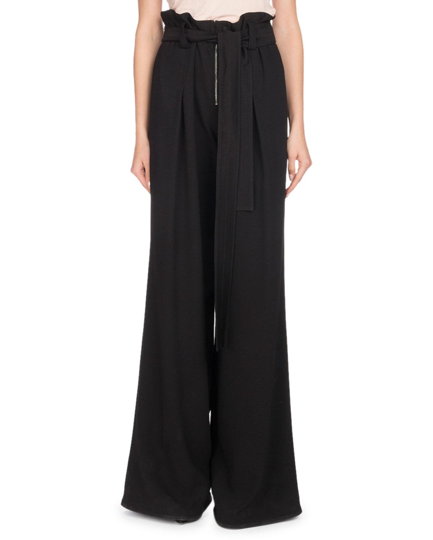 Paperbag-Waist Wide-Leg Crepe Pants w/ Self-Tie Belt