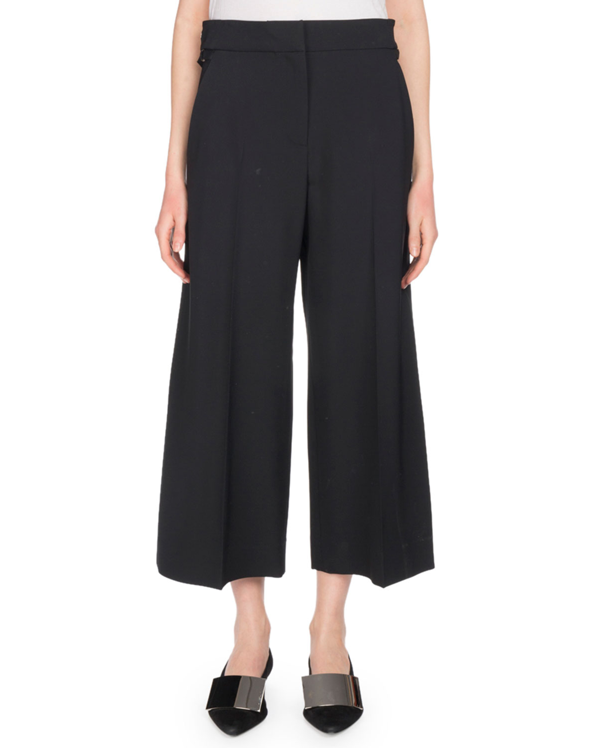 Flat-Front Wide-Leg Cropped Culotte Pants