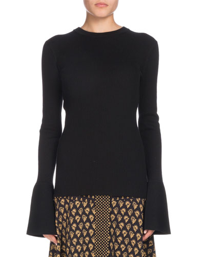Crewneck Long-Sleeve Bell-Cuff Fine-Gauge Sweater