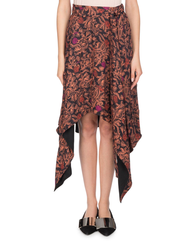 Asymmetric Floral-Print Crepe De Chine Midi Skirt, Black Pattern