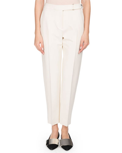 Flat-Front Tapered-Leg Cropped Crepe Pants