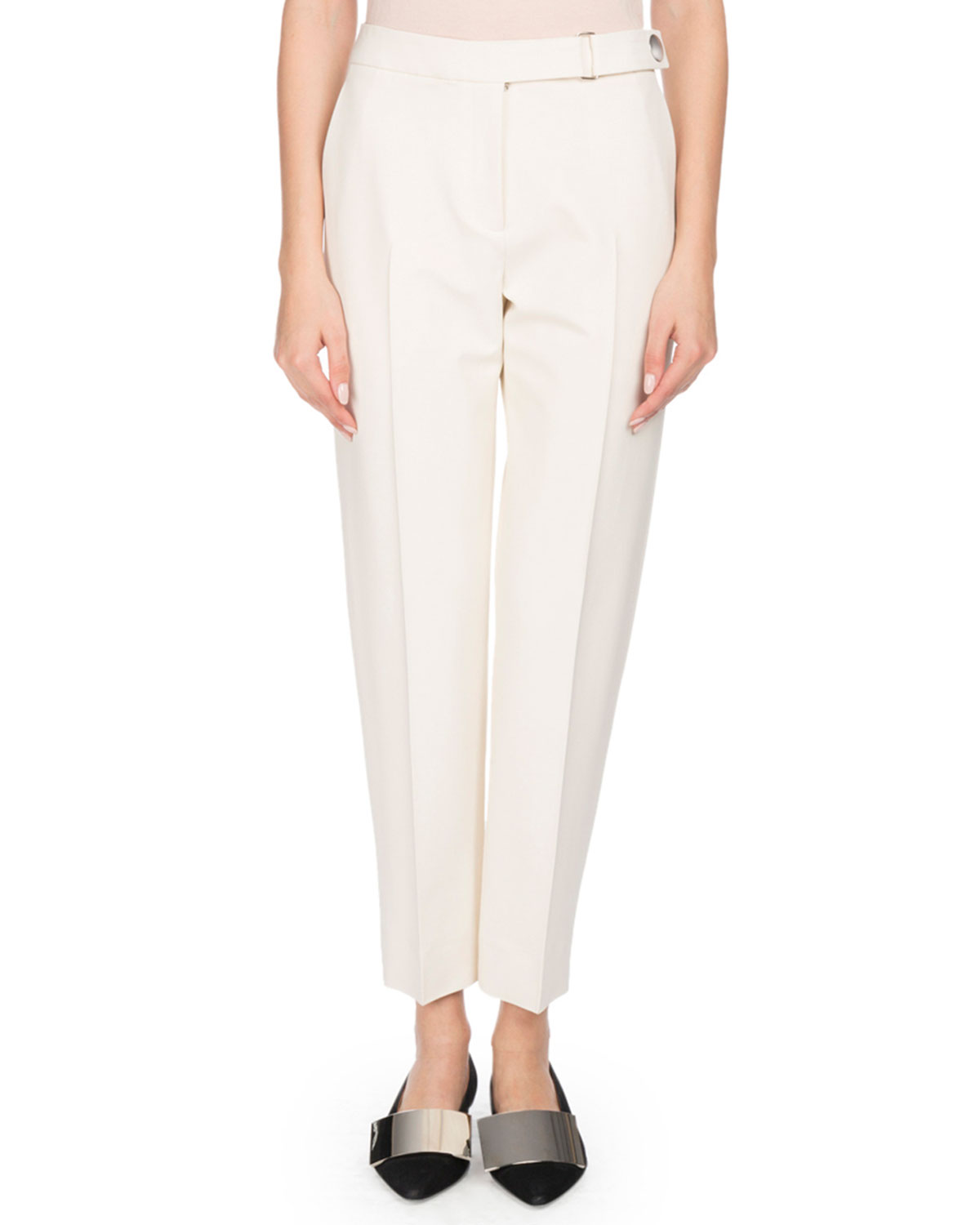 PROENZA SCHOULER FLAT-FRONT TAPERED-LEG CROPPED CREPE PANTS