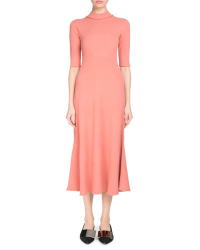 Mock-Neck Elbow-Sleeve Staggered-Ribbed A-Line Midi Dress
