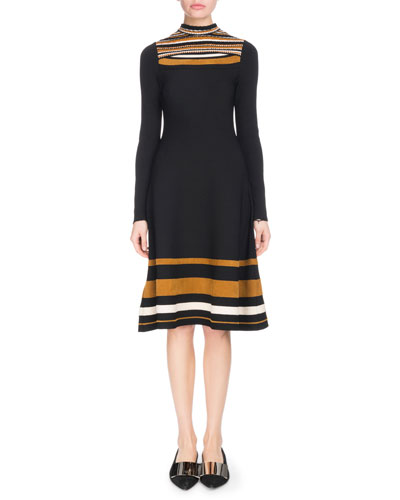 Slit-Neck Long-Sleeve Striped Fit-and-Flare Knee-Length Dress