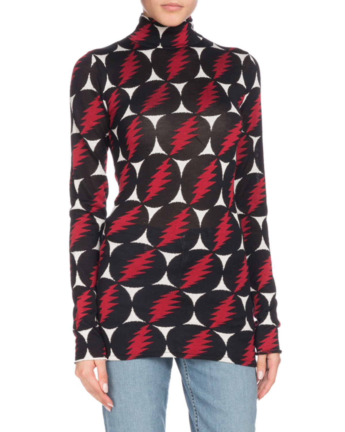 Turtleneck Long-Sleeve Lightning-Bolt Silk Top, Black Pattern
