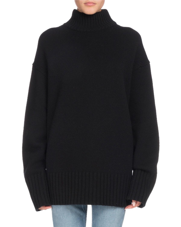 Turtleneck Long-Sleeve Wool-Cashmere Oversized Sweater, Black