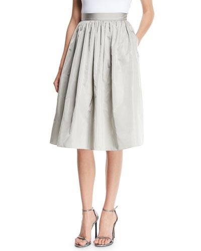 Ansley Full A-Line Taffeta Skirt w/ Pockets