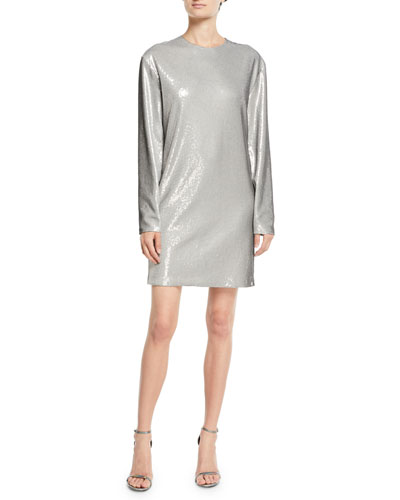 Sondra Long-Sleeve Beaded Shift Dress