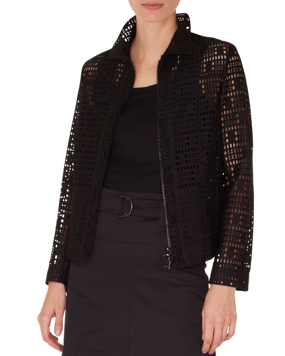 Zip-Front Collared Lace Jacket w/ Ruffled Detailing