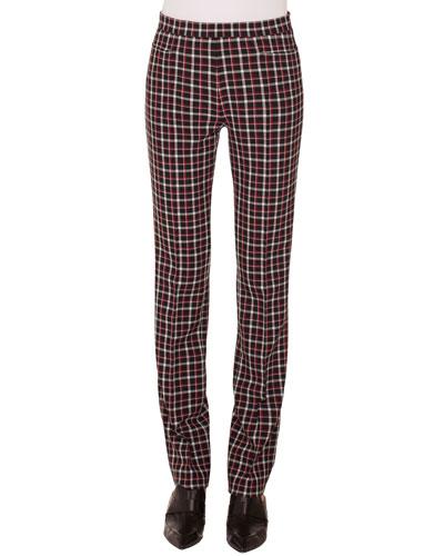 Francoise Straight-Leg Side-Zip Glen Check Pants