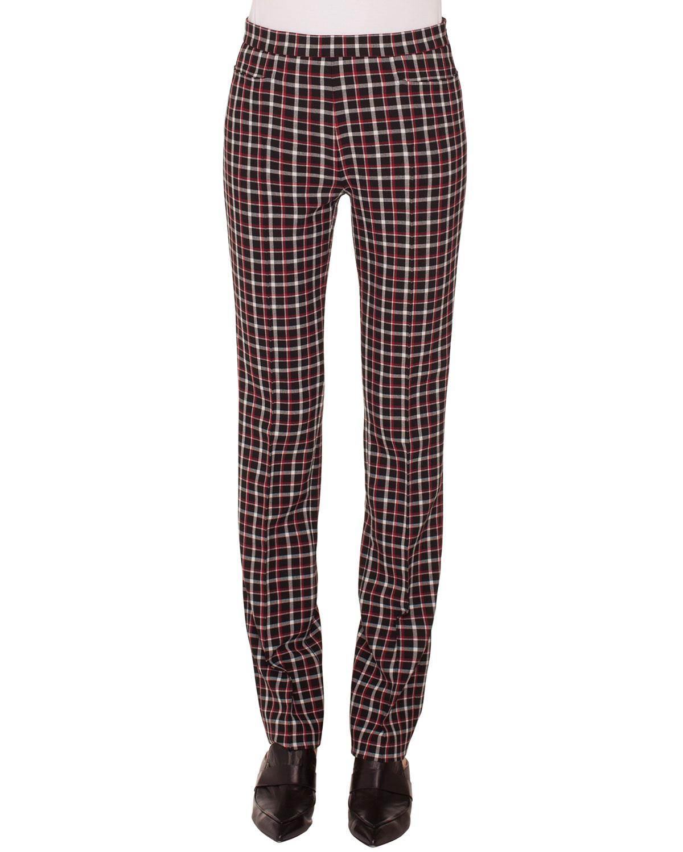 Francoise Straight-Leg Side-Zip Glen Check Pants, Black Pattern