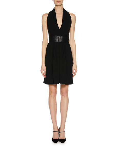Giorgio Armani Deep-V Halter Sleeveless Silk Dress w/ Leather Harness