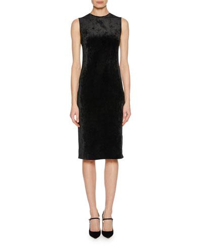 Sleeveless Jersey Velvet Fused Fitted Dress