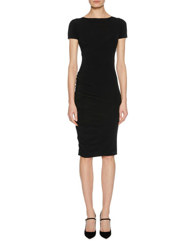 Short-Sleeve Ruched Fitted Jersey Dress