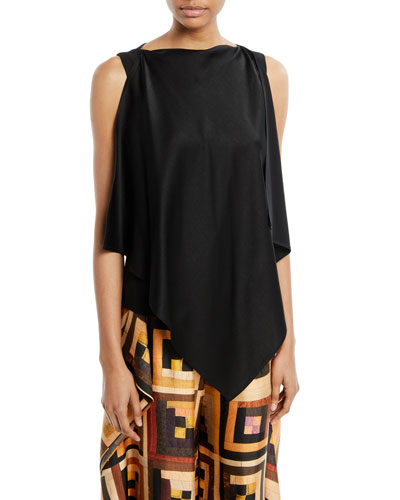 Scarf-Neck Sleeveless Crepe Back Satin Top