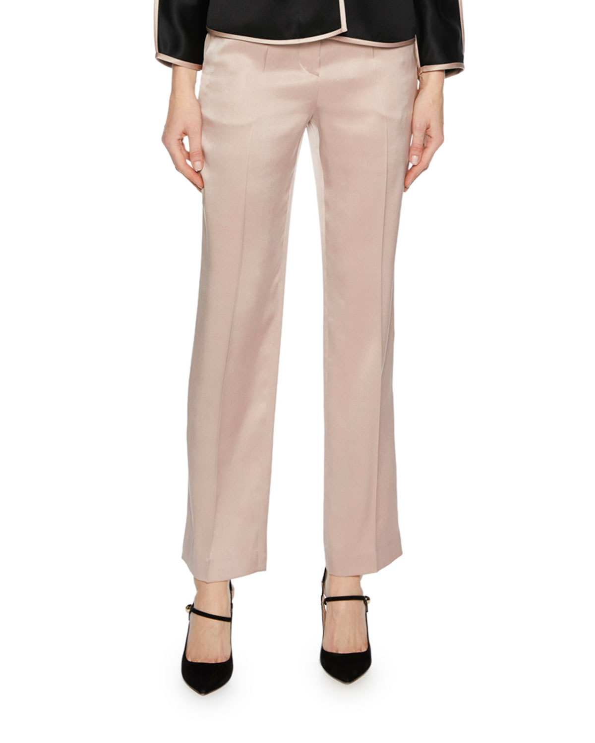 Silk Satin Straight-Leg Pants