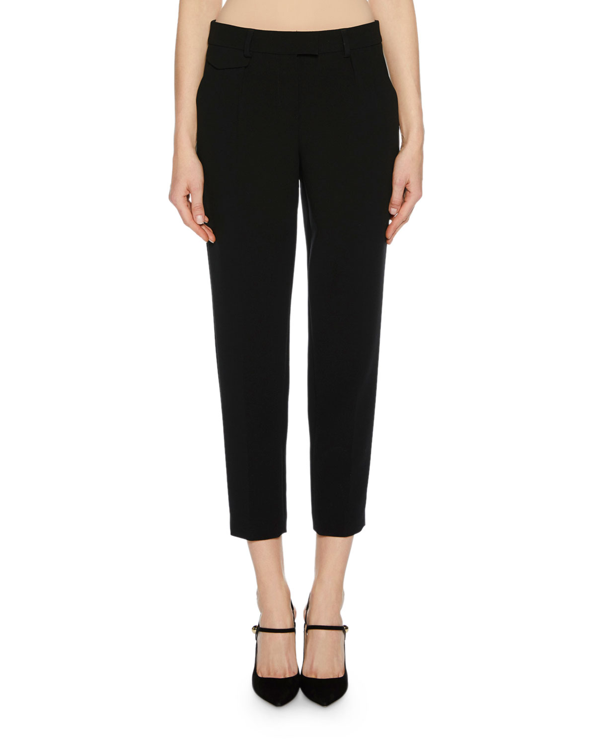 Zip-Front Crepe Ankle Pants w/ Front Pleat