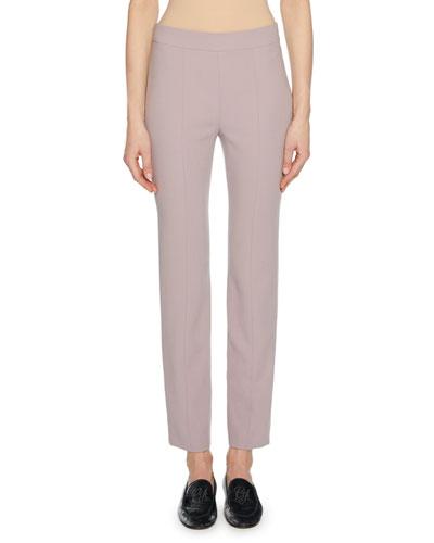 Straight-Leg Wool Crepe Crop Pants with Back Zip