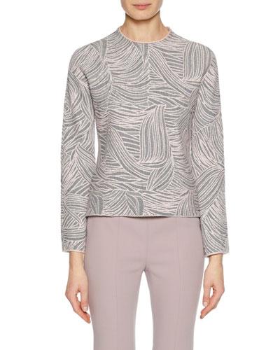 Crewneck Long-Sleeve Floral-Jacquard Top