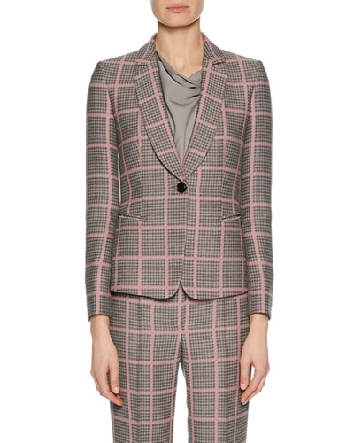 Notched-Collar One-Button Plaid Classic Jacket