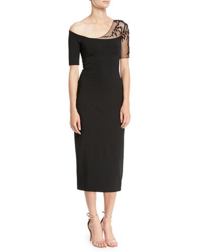 One-Shoulder Short-Sleeve Pencil Cocktail Dress w/ Lace Detail